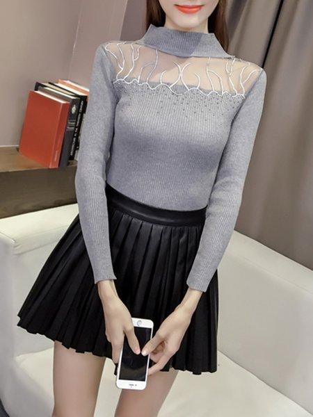 Gray Paneled Long Sleeve Tulle Embellished Sweater