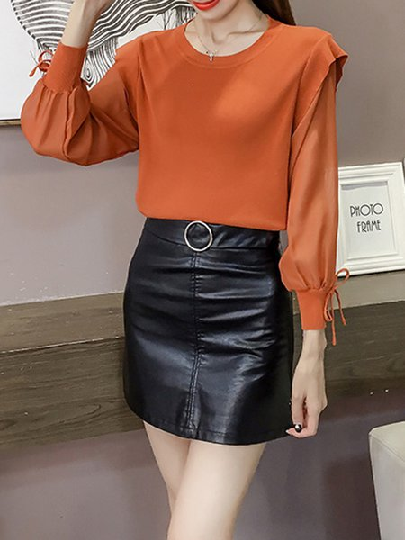 Casual Solid Balloon Sleeve Paneled Blouses & Shirt