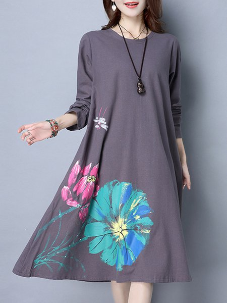 Women Print Dress Shift Daytime Long Sleeve Casual Dress