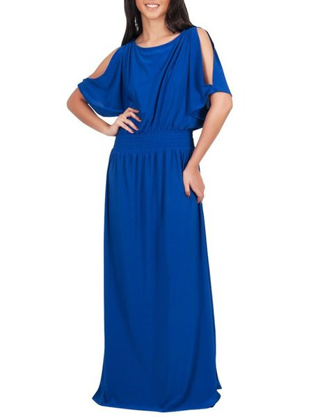 Blue Elegant A-line Cutout Crew Neck Maxi Dress