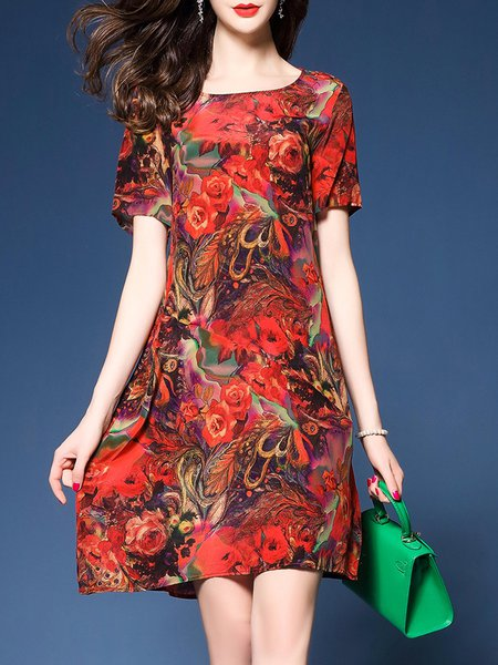 Red Women Print Dress Crew Neck A-line Going out Short Sleeve Floral Dress