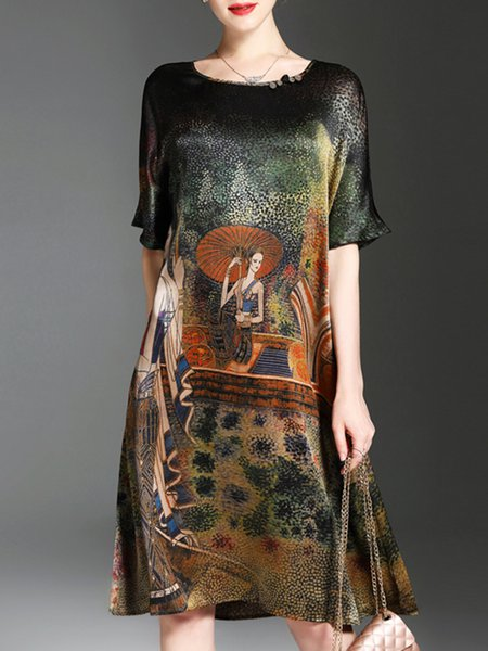 Multicolor Printed Crew Neck Half Sleeve Print Dress