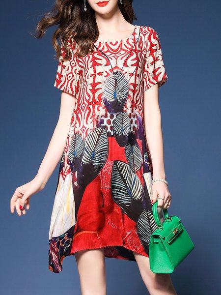 Multicolor Asymmetrical Casual Print Dress