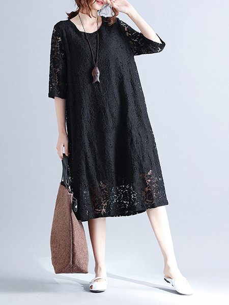 Women Elegant Dress Crew Neck A-line Going out Guipure Floral Dress