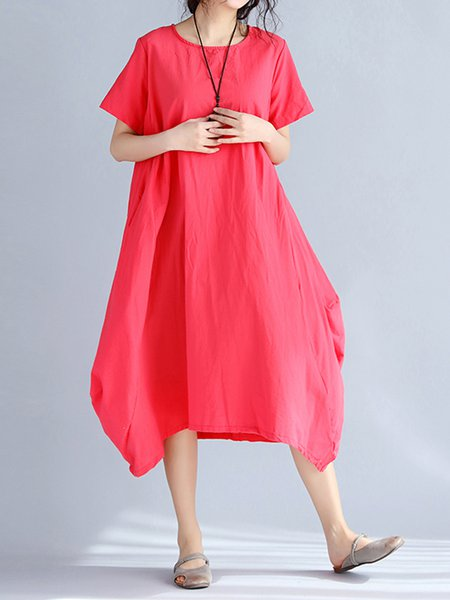 Red Pockets Crew Neck Cocoon Short Sleeve Casual Dress