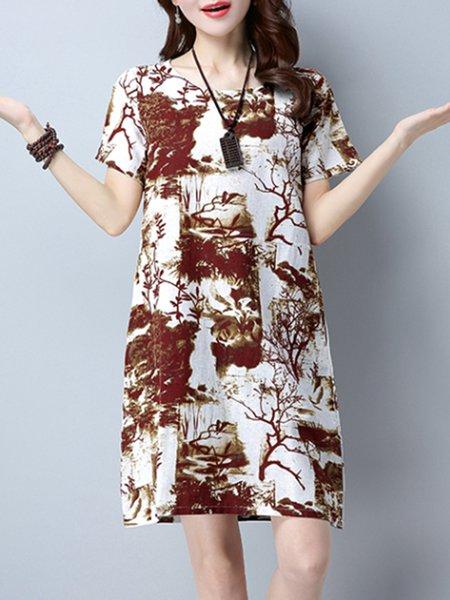 Burgundy Printed A-line Short Sleeve Casual Dress