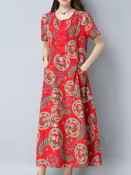 Red Buttoned Crew Neck Floral Casual Print Dress