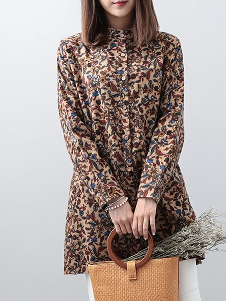 Coffee Floral Long Sleeve Stand Collar Tunic