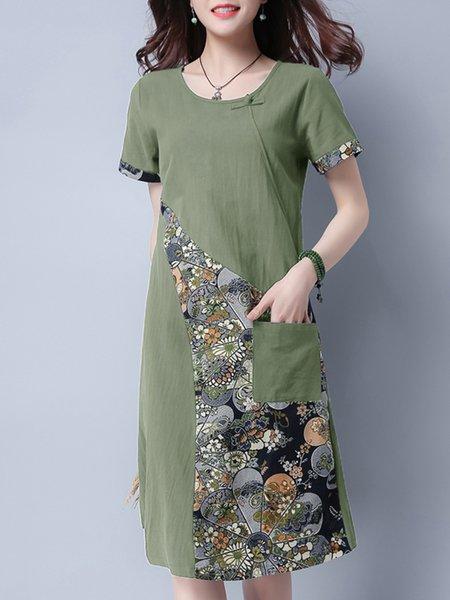 Green Short Sleeve Crew Neck Printed Paneled Casual Dress