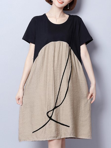 Khaki Women Casual Dress Crew Neck A-line Daily Casual Paneled Dress