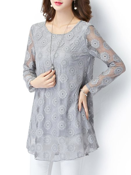 Plus Size Gray Guipure Lace Polyester Long Sleeve Tunic Top