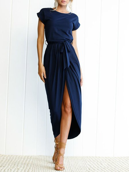 Dark blue Women Casual Dress Crew Neck Sheath Daily Asymmetric Solid Dress