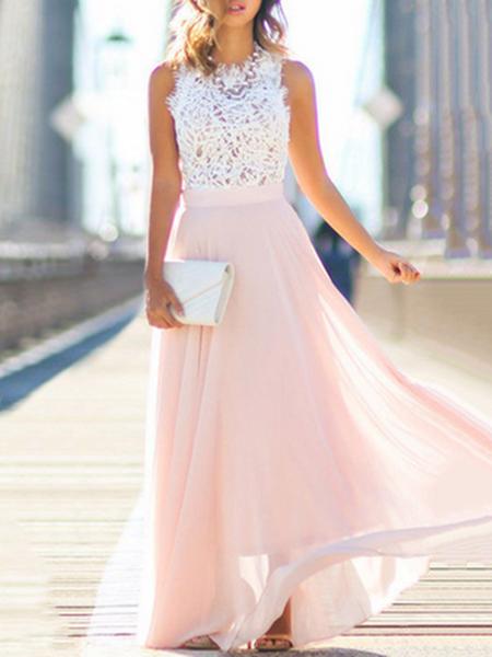 Women Prom Dress Stand Collar Swing Elegant Paneled Dress
