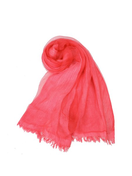 Red Solid Silk Casual Scarf