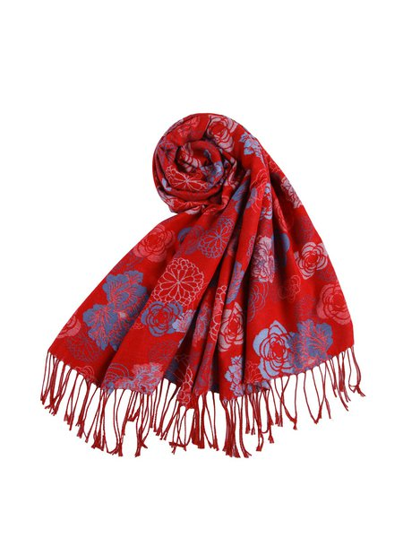Red Polyester Tribal Scarf
