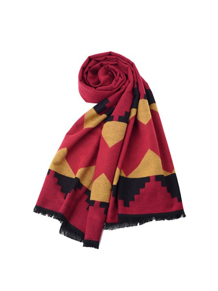 Red Geometric Casual Viscose Scarf