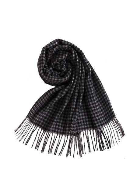 Black Wool Checkered/Plaid Scarf