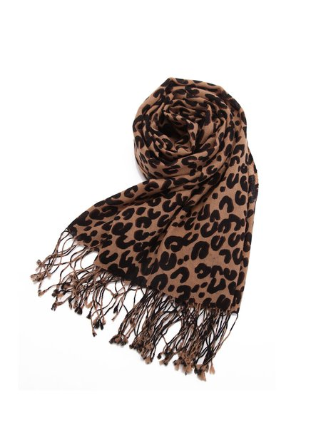 Coffee Wool Leopard Print Scarf