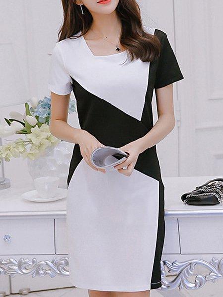 White Sheath Color-block Short Sleeve Square Neck Elegant Dress