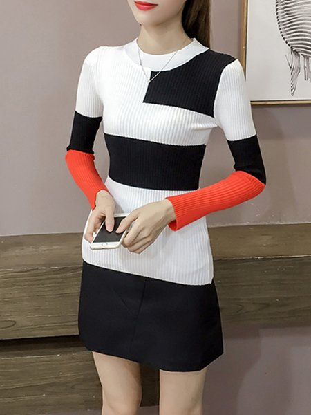 Casual Sheath Color-block Knitted Sweater