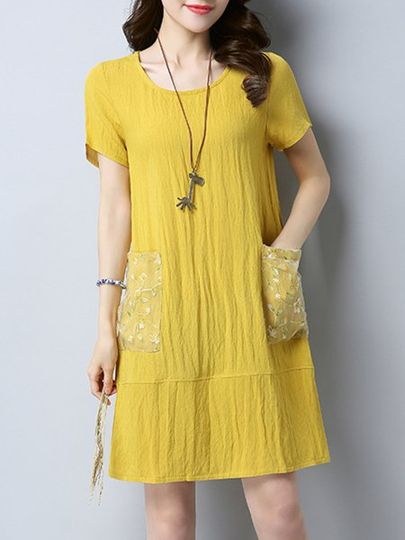 Yellow Short Sleeve Pockets Crew Neck Casual Dress