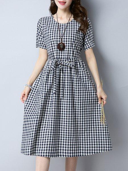 Black Checkered/Plaid Short Sleeve Casual Dress