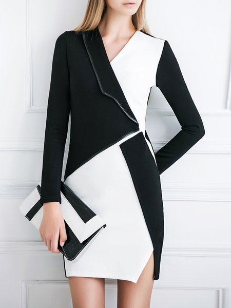 Black-white Elegant Color-block V Neck Dress