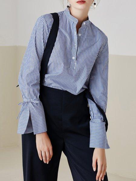 Blue Cotton Stripes Stand Collar Blouse