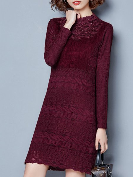 Beaded Elegant Lace Fleece-lined Stand Collar Dress