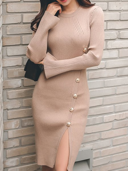 Bodycon Long Sleeve Buttoned Knitted Dress