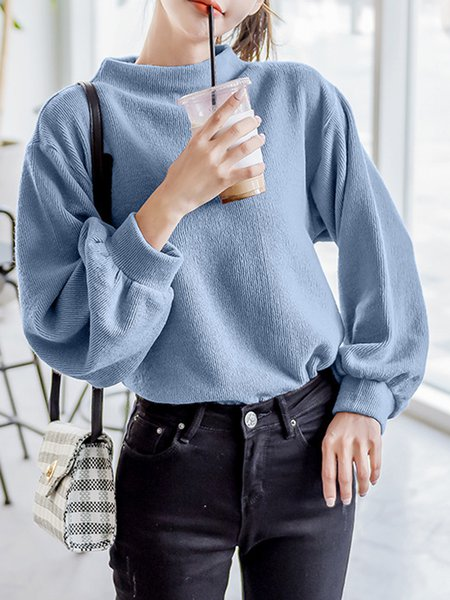 Knitted Casual Balloon Sleeve Sweater