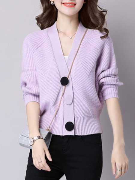 Knitted Buttoned Batwing Solid Cardigan