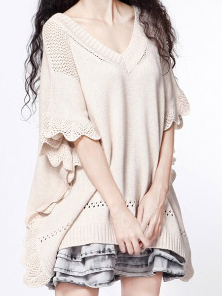 Asymmetrical Cape Sleeve Knitted Poncho