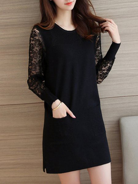 Long Sleeve Casual Knitted Pockets Crew Neck Dress