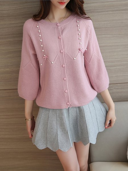 Crew Neck Casual 3/4 Sleeve Knitted Cardigan