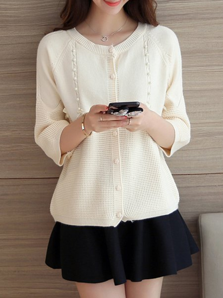 3/4 Sleeve Knitted Beaded Casual Cardigan