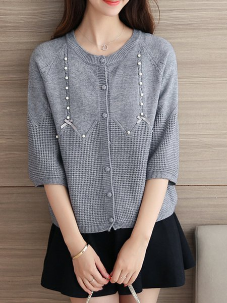 Beaded Casual Knitted H-line Crew Neck Cardigan