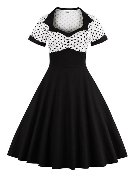 Black Polka Dots Square Neck Buttoned Skater Vintage Dress