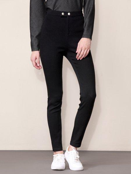 Black Solid Spandex Symmetric Casual Pant