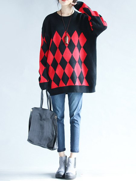 Geometric Knitted Long Sleeve H-line Sweater