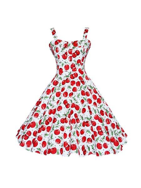Sweer Heart Red Cherry Printed Skater Dress