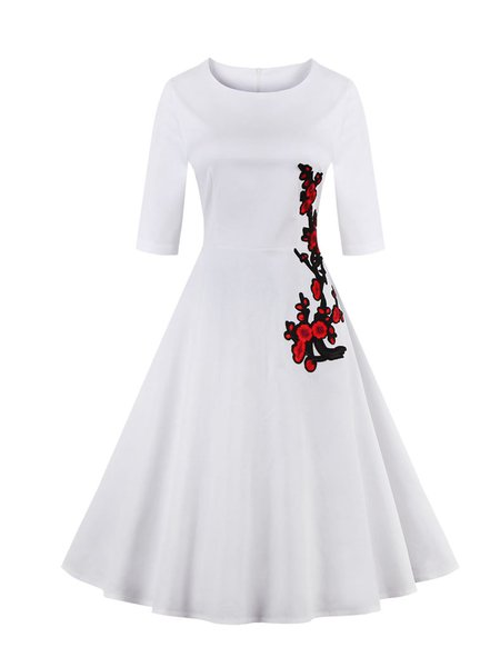 Cross Your Mind White Floral Embroidered Dress