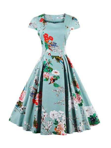 Women Vintage Dress Square neck Swing Daytime Cotton-blend Floral-print Dress