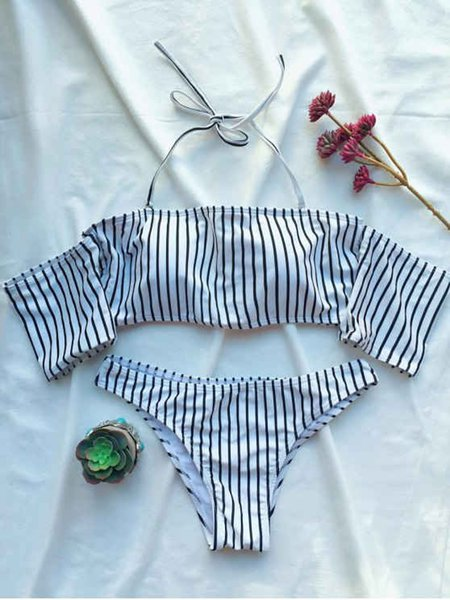 White-black Stripes Off Shoulder Bikini