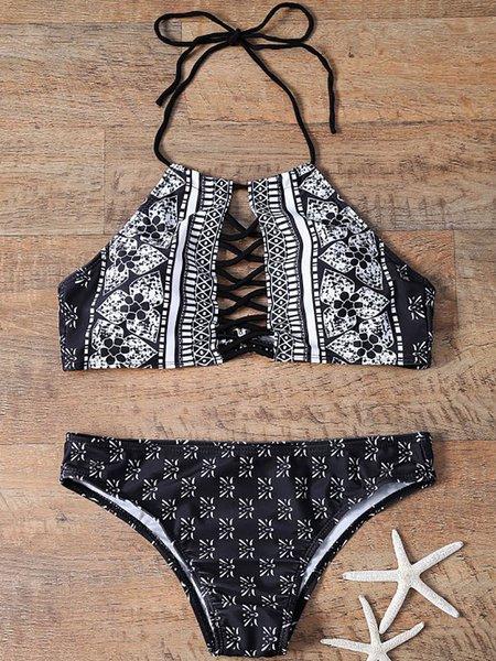 Black-white Wireless Printed Halter Bikini