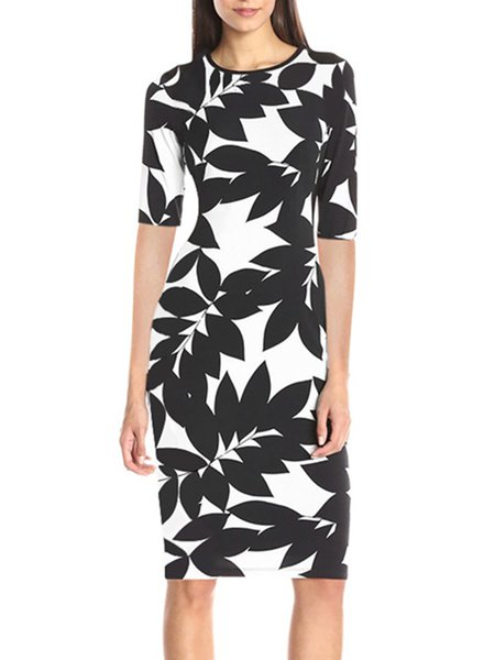 Sidetracked Leaves Printed Sheath Half Sleeve Dress