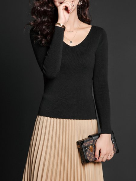 Black V Neck Cotton Knitted Long Sleeve Sweater
