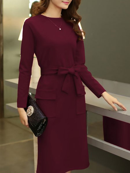 A-line Long Sleeve Crew Neck Bow Dress