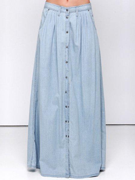 Buttoned Denim Casual Plain  Skirt