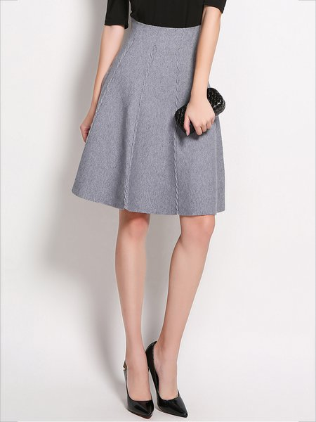 Casual Knitted Plain Skater Skirt
